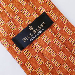 Bill Blass Orange Geometric Silk Designer Neck Tie